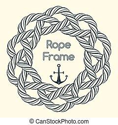 Blue rope decorative round frame