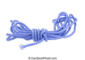 blue rope isolated on white with clipping path