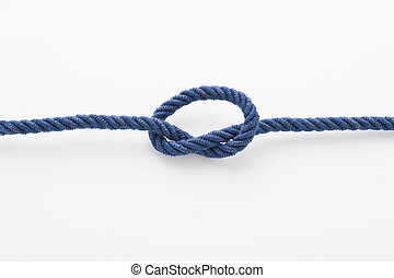 Blue rope with a tied knot