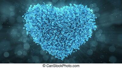 Blue Rose Sakura Flower Petals In Lovely Heart Shape Background Loop