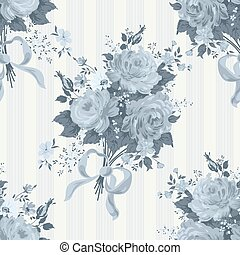 Blue Rose Vintage Background. Floral pattern