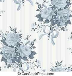 Blue Rose Vintage Wallpaper. Floral pattern