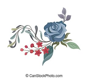 Blue rose with leaves. Vector illustration on a white background.