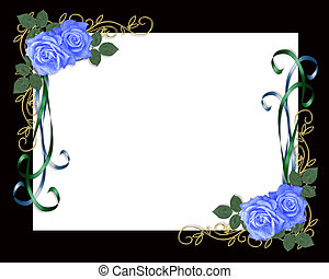 blue roses black frame