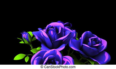 Blue Roses Bouquet On Black Text Space. Loop able 3DCG render Animation.