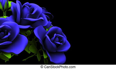 Blue Roses Bouquet On Black Text Space