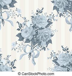 Blue roses floral wallpaper. Vector pattern