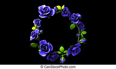 Blue roses frame on black text space. Loop able 3DCG render animation.