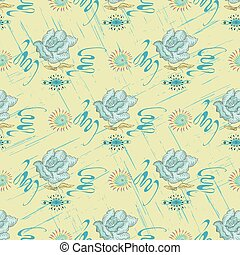 blue roses on a light background abstract pattern