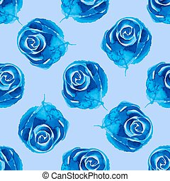 Blue roses - seamless pattern