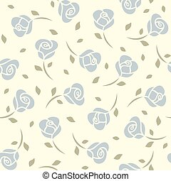 Blue roses seamless pattern