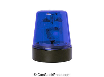 blue rotating beacon isolated on a white background