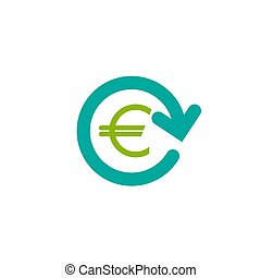 blue round arrow with green euro. Flat icon. Isolated on white. Currency exchange icon.