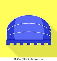 Blue round awning icon, flat style