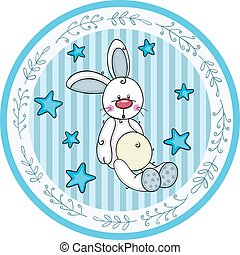 Blue round baby shower sticker labels with boy bunny