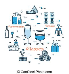 Blue round banner - wine glasses - Vector linear blue round...