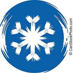 Blue round banner with a white snowflake. Vector image.