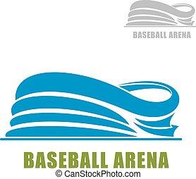 Blue round baseball stadium icon - Baseball stadium icon ...
