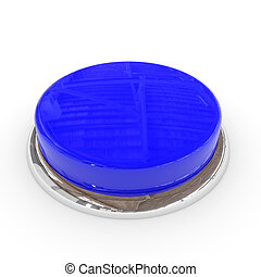 Blue round blank 3d button with chrome ring.