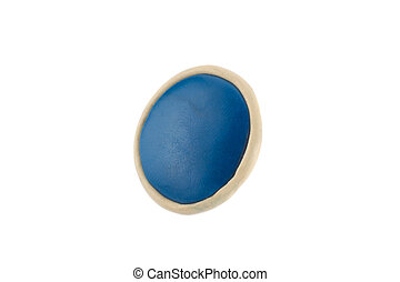 Blue round button from plasticine on a white background