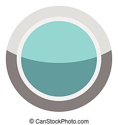 Blue round button icon, cartoon style