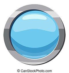 Blue round button icon, cartoon style