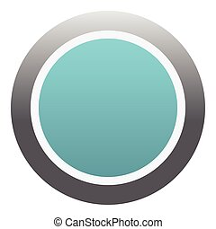 Blue round button icon, flat style