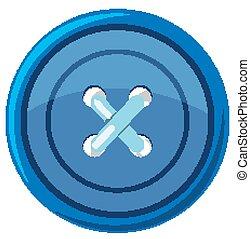 Blue round button on white background