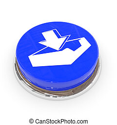 Blue round button with download sign.