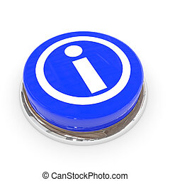 Blue round button with information sign.