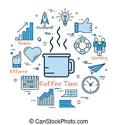 Blue round Coffee Time concept