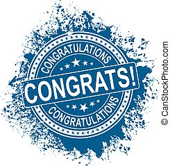 blue round congratulations stamp on white background vector illustration
