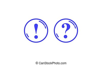 Blue round contours with question and exclamation marks