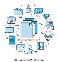 Blue round Documentation concept