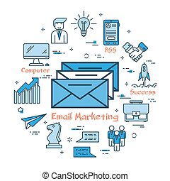 Blue round Email Marketing concept