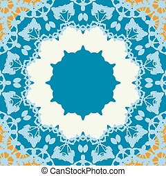Blue Round Frame Seamless abstract background with round lace pattern.