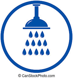 blue round icon with shower head