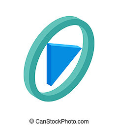 Blue round play button isometric 3d icon