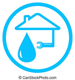 round plumber icon with wrench and house - blue round ...