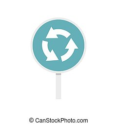 Blue round road sign with arrows icon, flat style