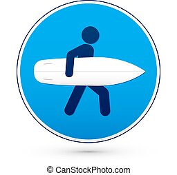 Blue round road sign with surfer