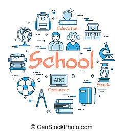 Blue round School concept