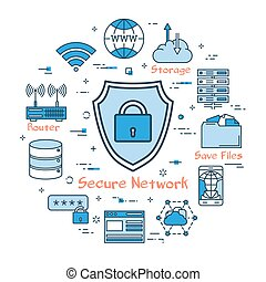 Blue round Secure Network concept - Vector linear blue round...