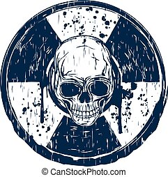 blue round skull stamp - Vector illustration blue old dirty ...