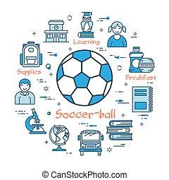 Blue round Soccer Ball concept