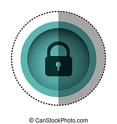 blue round symbol padlock closed icon