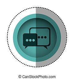 blue round symbol square chat bubbles icon