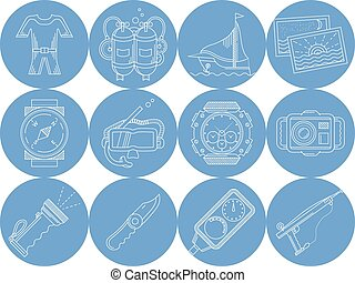Blue round vector icons for diving