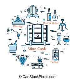 Blue round Wine Cask concept - Vector linear blue round...