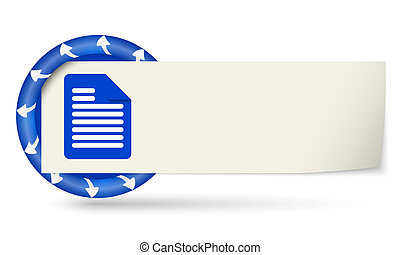 blue round with arrows and paper on note and document icon